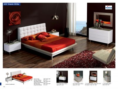 Bedroom  Furniture Modern  Bedrooms Toledo 603 White, M72, C72, E96