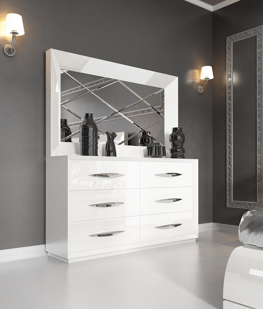 Modern bedroom dresser with mirror - Carmen White Double Dresser And Mirror