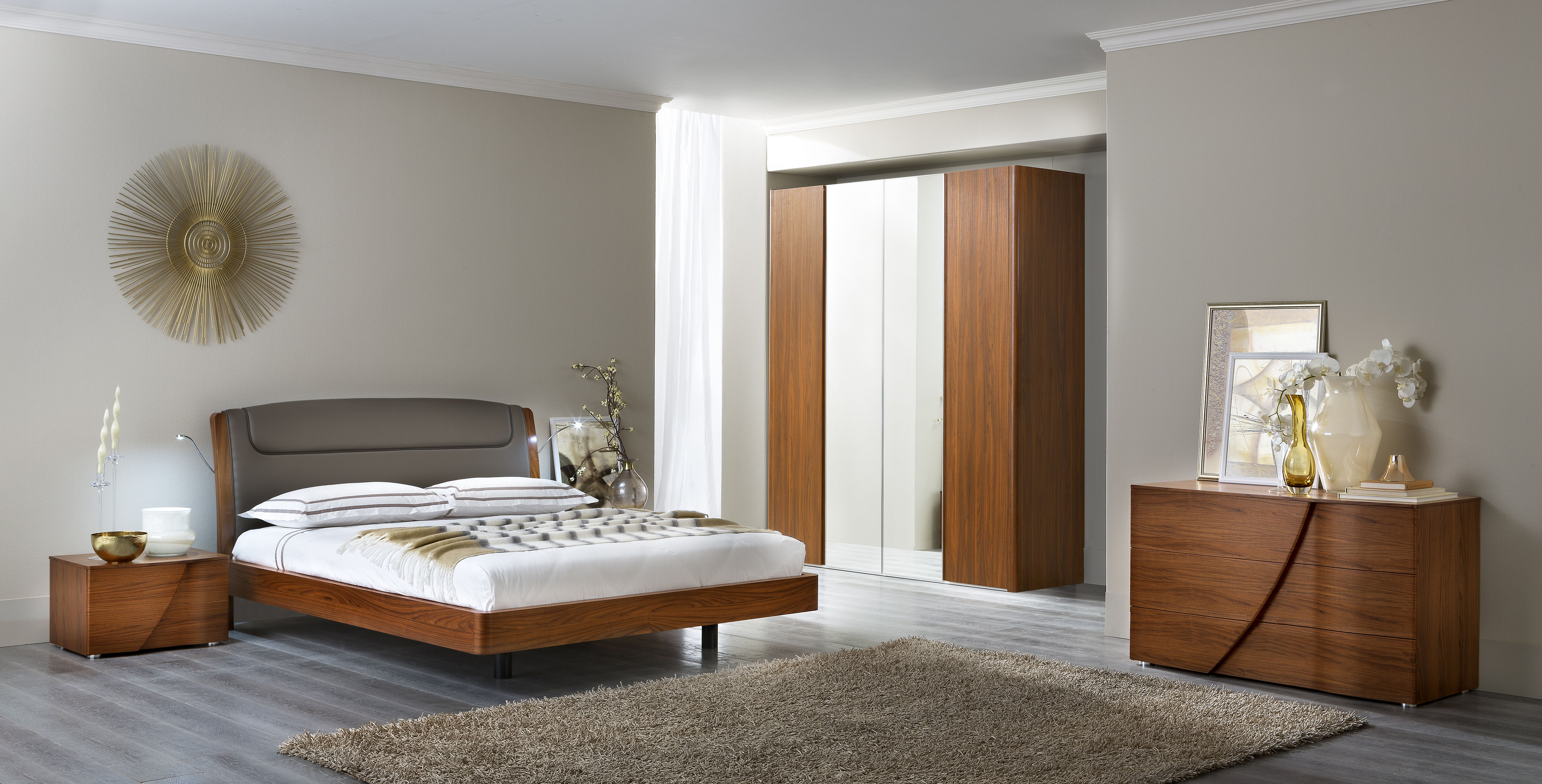 Bedroom Furniture Modern Bedrooms Luna Walnut