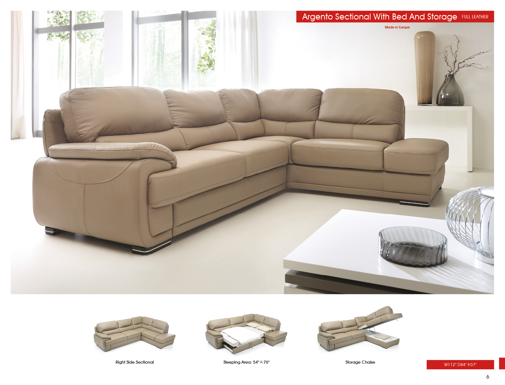 Cool Argento Sectional W Bed And Storage Sectionals Living Room Gmtry Best Dining Table And Chair Ideas Images Gmtryco