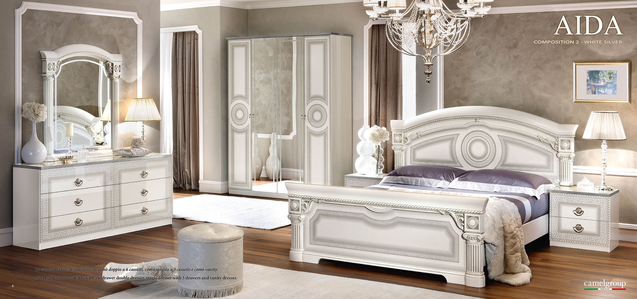 Aida White w/Silver, Camelgroup Italy, Classic Bedrooms ...