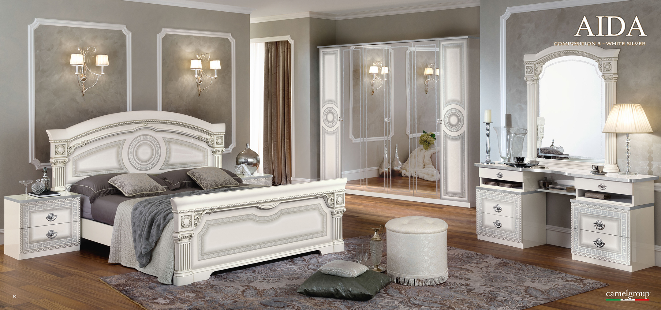 Aida White W Silver Camelgroup Italy Clic Bedrooms Bedroom Furniture
