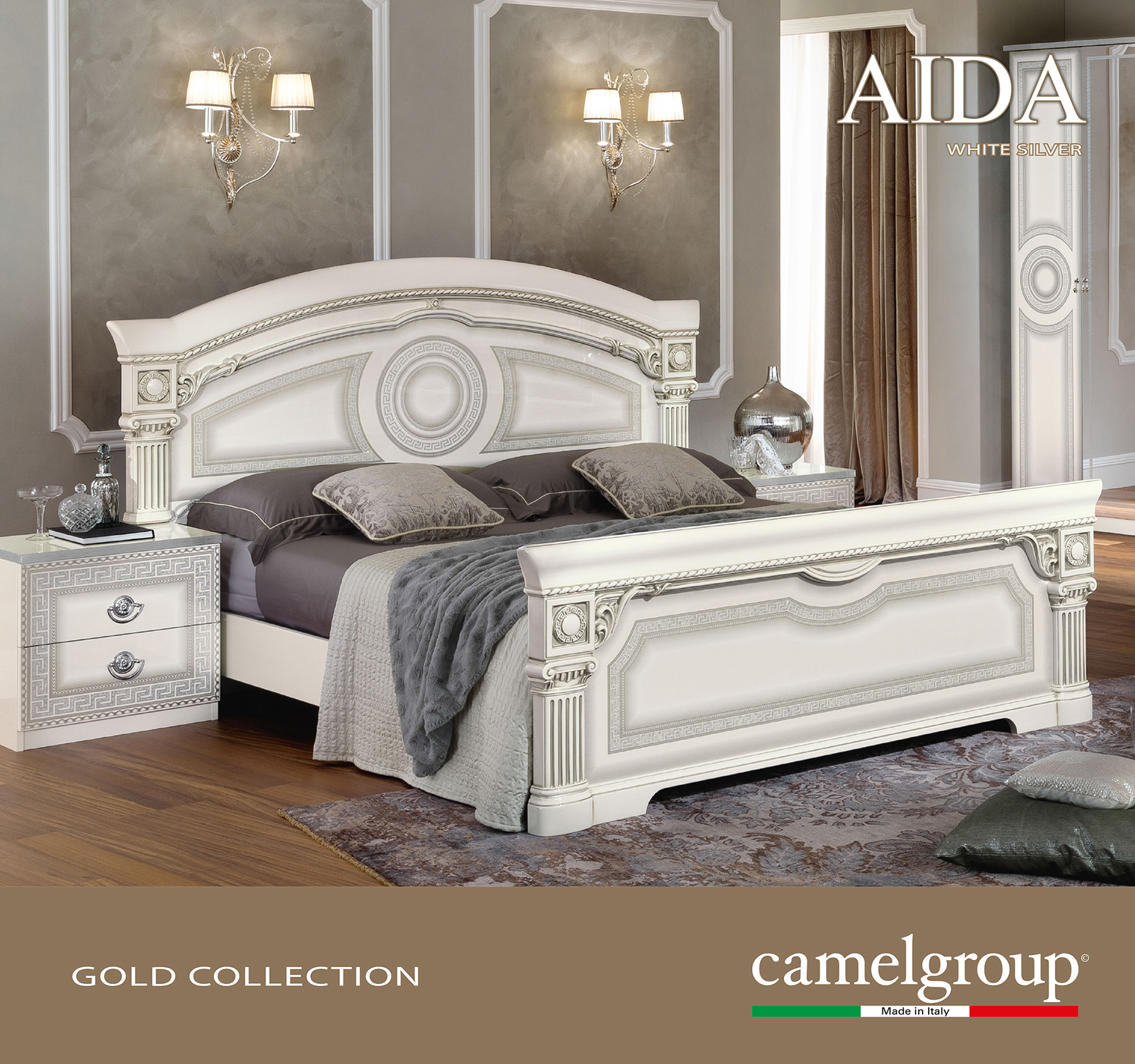 Aida White w Silver Camelgroup Italy Classic Bedrooms Bedroom