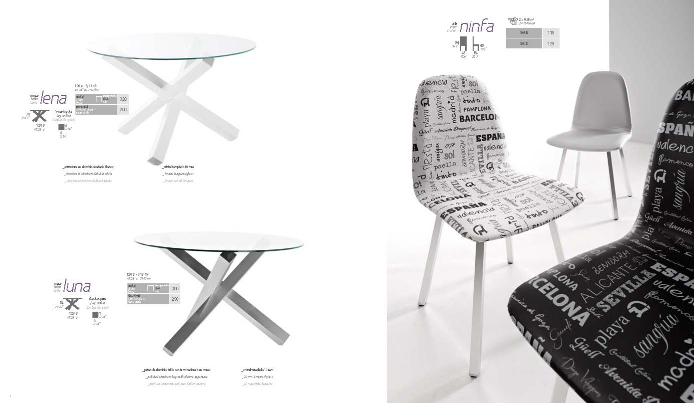 Collections Marcello Ibanez Modern Dining, Spain Lena Table, Luna Table,  Ninfa Chair