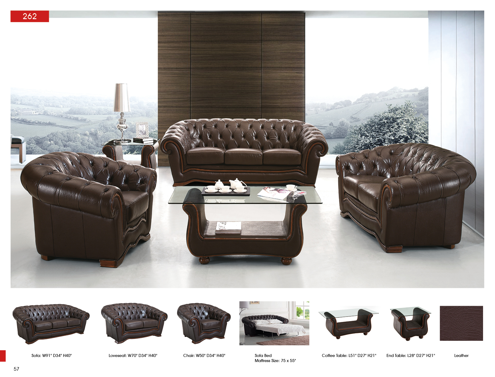 262 Full Leather Leather Classic 3 pcs Sets Living Room Furniture