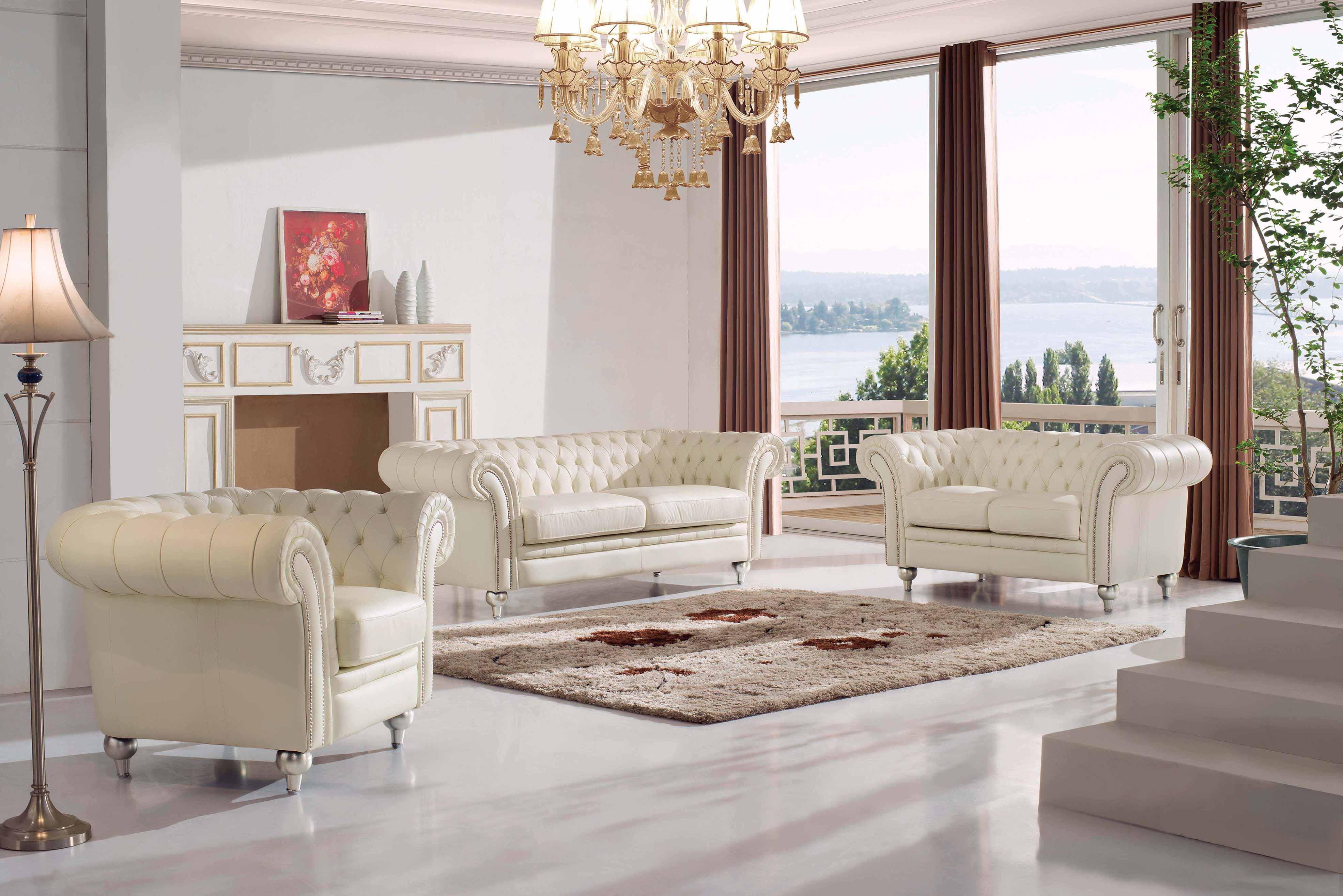 Living Room Furniture Leather Classic 3 Pcs Sets 287 Part 77