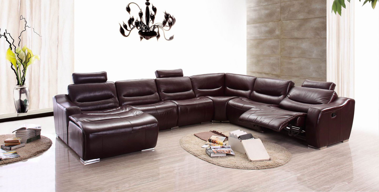 Living Room Furniture Leather Sectionals 2144 Sectional Left w/Recliner : reclining leather sectional - islam-shia.org