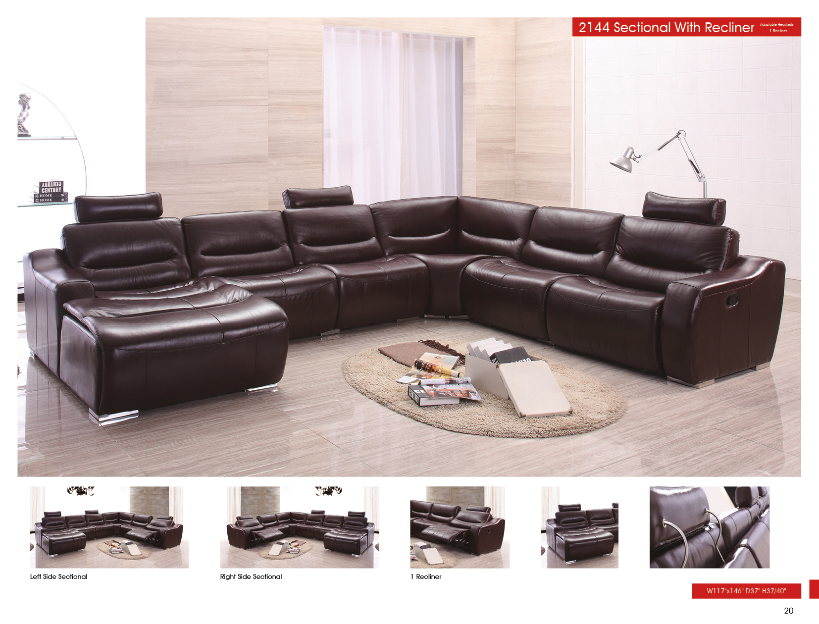 2144 Sectional Left w/Recliner, Recliners, Living Room Furniture