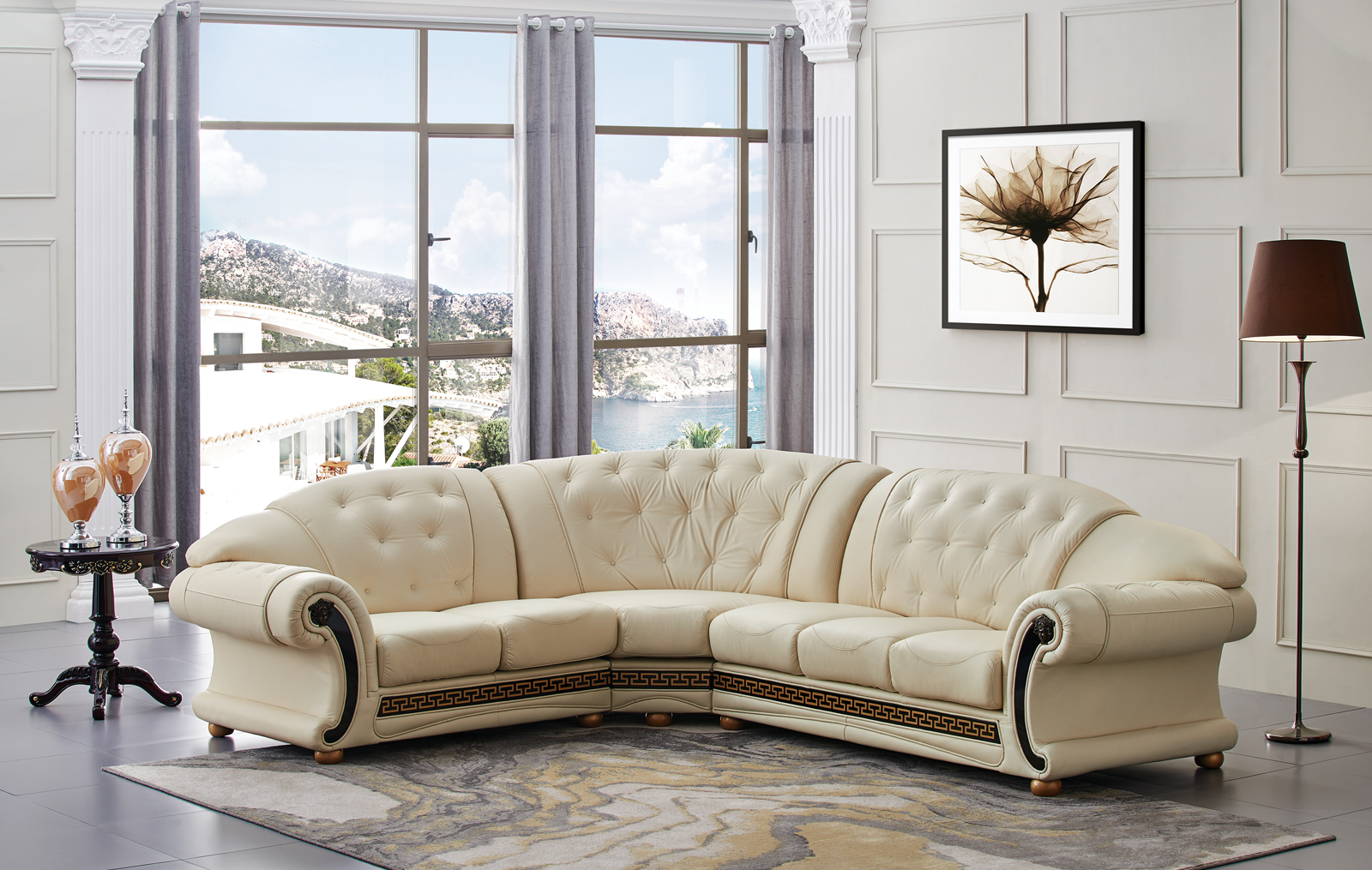 Living Room Furniture Leather Sectionals Apolo Sectional Ivory Part 70