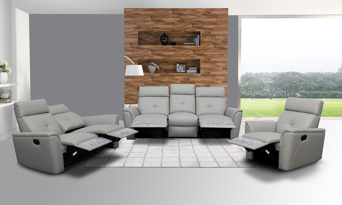 Italian Leather Living Room Furniture 8501 Recliner Light Grey Leather Modern 3 Pcs Sets Living Room