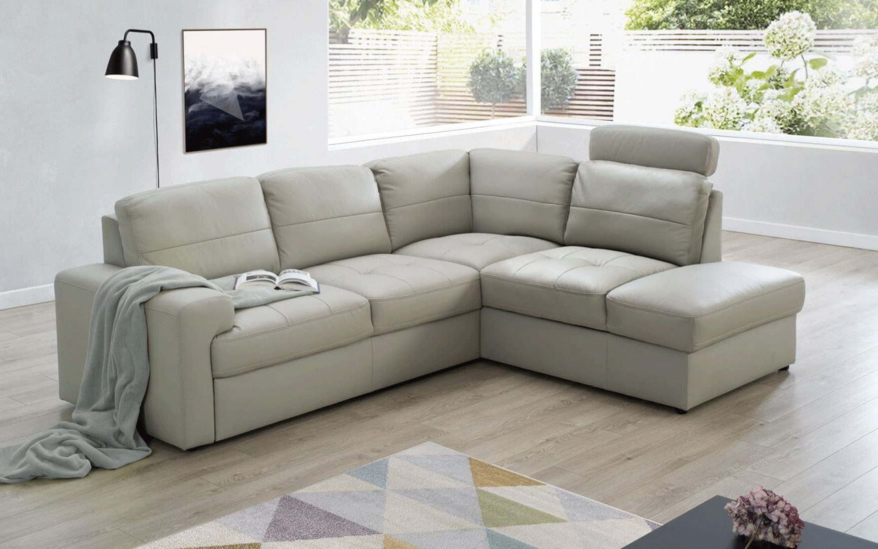 Brands Galla Leather Collection, Europe Ella Sectional Right w/Bed & Storage